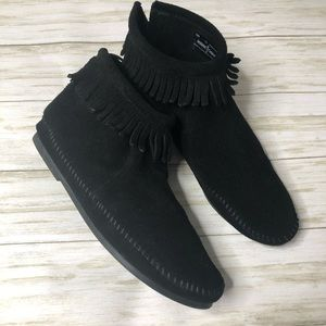 Minnetonka Black Ankle Booties
